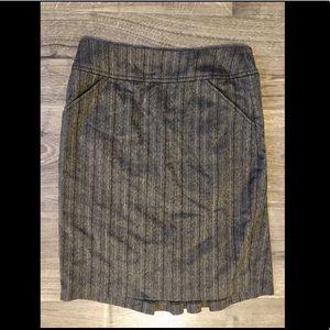 Pinstripe Pencil Skirt w/ ruffle
